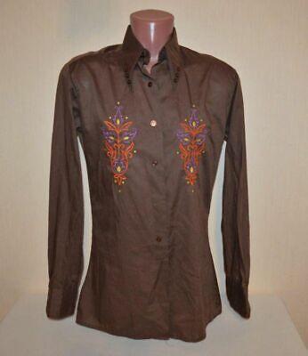 EntrüCkung Original True Vintage Besticktes Folklore Hemd Von Bejo In Uni Braun, Gr.s 44 46