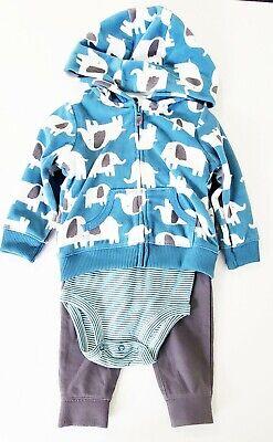 Bodysuit /& Jogger Pants Set Carter/'s Baby Boys 3-Pc Elephant Jacket