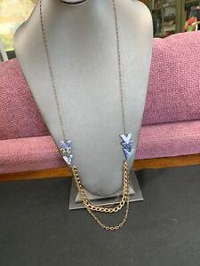"""Vtg Long Sweater Necklace Lapis Lazuli  Stone Beaded Gold Tone 36"""""""
