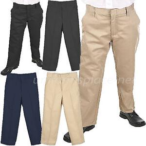 401705f8b40b2c Image is loading School-Uniform-Pants-Boys-Flat-front-adjustable-Waist-