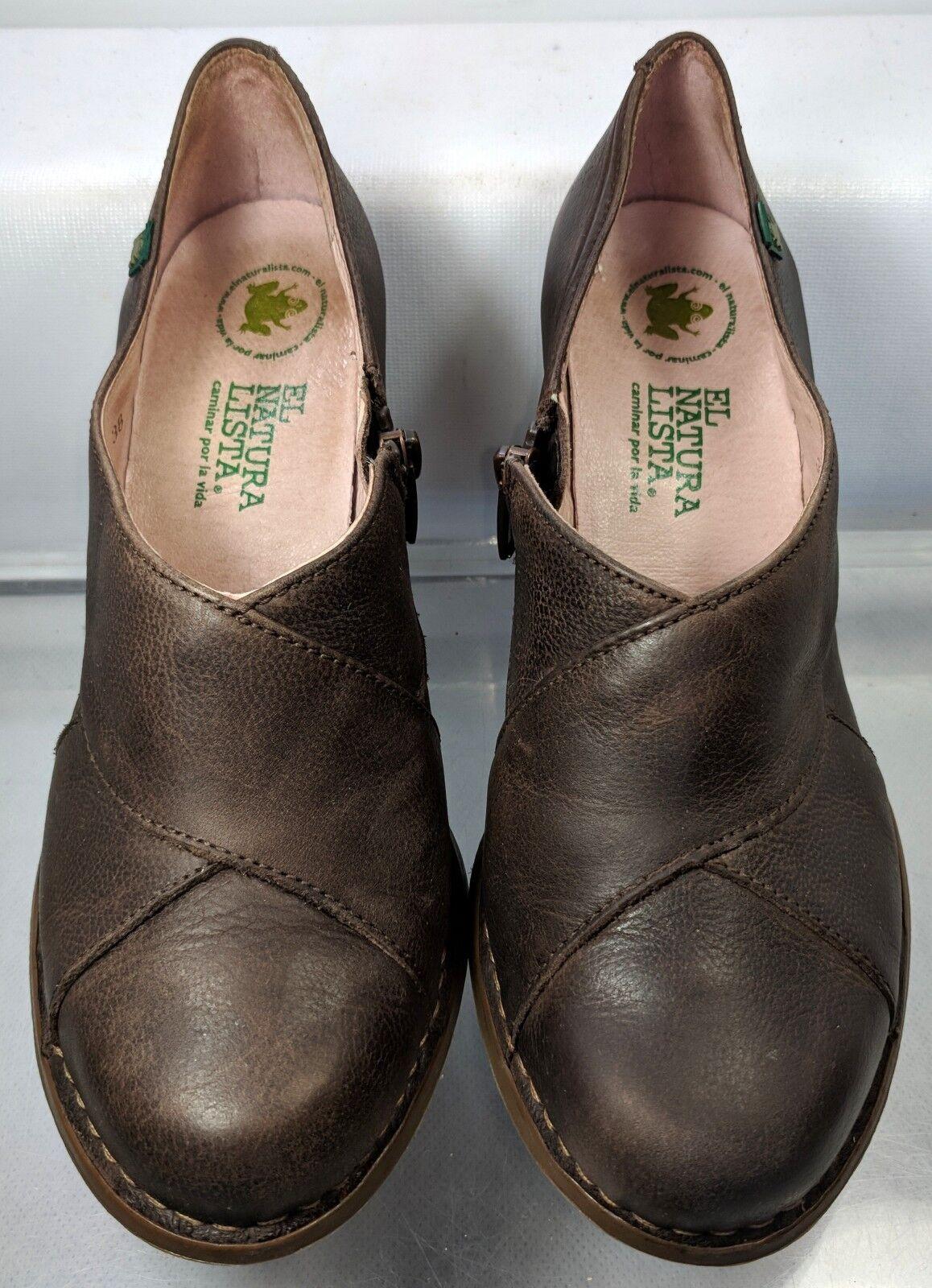 El Naturalista Colibri 470  Brown Leather Round Heel Women US 7.5 Minimal Wear