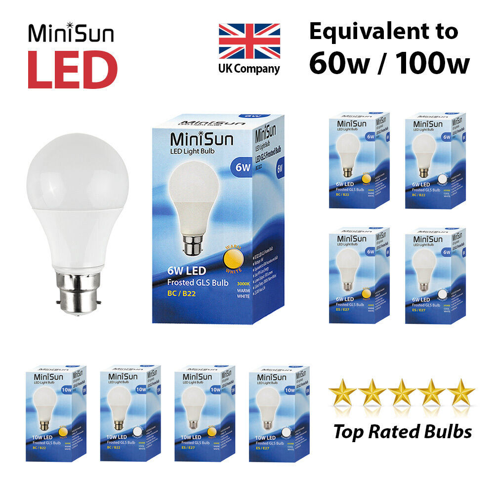 minisun led 6w 10w 60w100w bc b22 es e27 gls lamp light