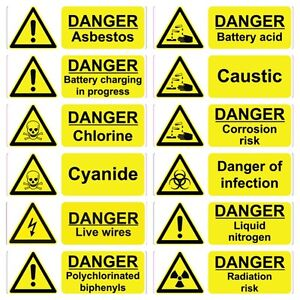 YELLOW WORKPLACE HAZARD HEALTH & SAFETY SIGNS WATERPROOF ...