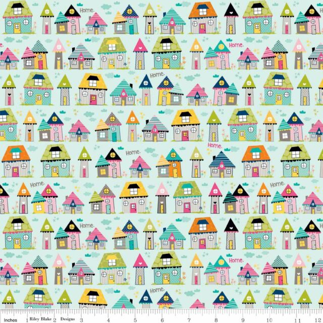 Fat Quarter Snapshots Houses Cotton Quilting Fabric Riley Blake C4072 Blue
