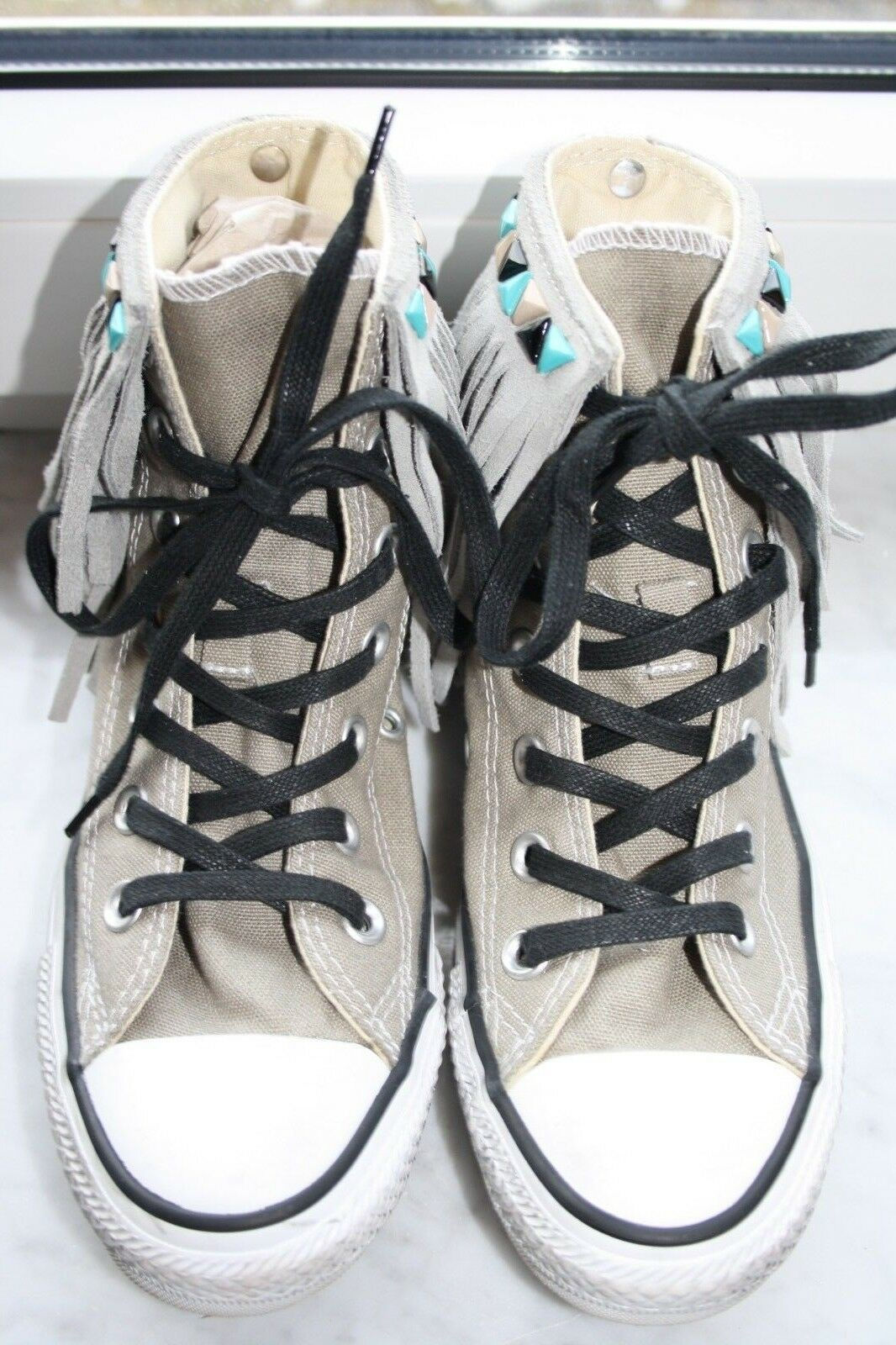 CONVERSE - High Top Sneaker - Leder & Fransen & Leder Indian Look - Gr. 36,5 - TOP ac6d48