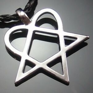 Heartagram star heart him pewter pendant with 20 choker necklace pp image is loading heartagram star heart him pewter pendant with 20 aloadofball Image collections