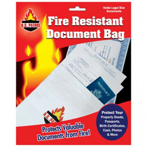 "Fire Resistant Document Bag Fireproof Protection Bag  Legal Size 10"" x 15"""