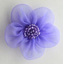 "5 X Large Organza Flowers Sew On Appliques Size: 2""  Colour: Purple  #2"