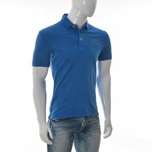 New-Napapijri-Geographic-Mens-Uniform-Pique-Polo-T-Shirt-Short-Sleeve-Blue-Small