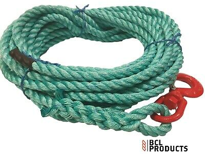 Scaffolding 16mm Gin Wheel Rope With Swivel Hook Strong Polysteel Rope