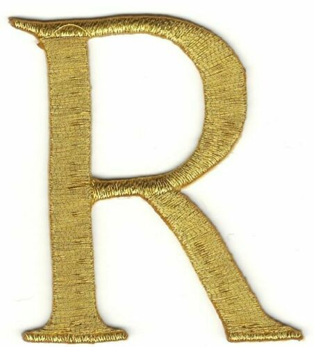 """2 /"""" x 6cm Metallisch Gold Monogramm Draht Brief R Bestickt Patch"""