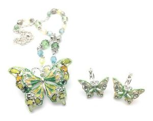 Details about Butterfly Brooch Necklace Earrings Silver Plated Crystal  Beads Green Enamel Pin
