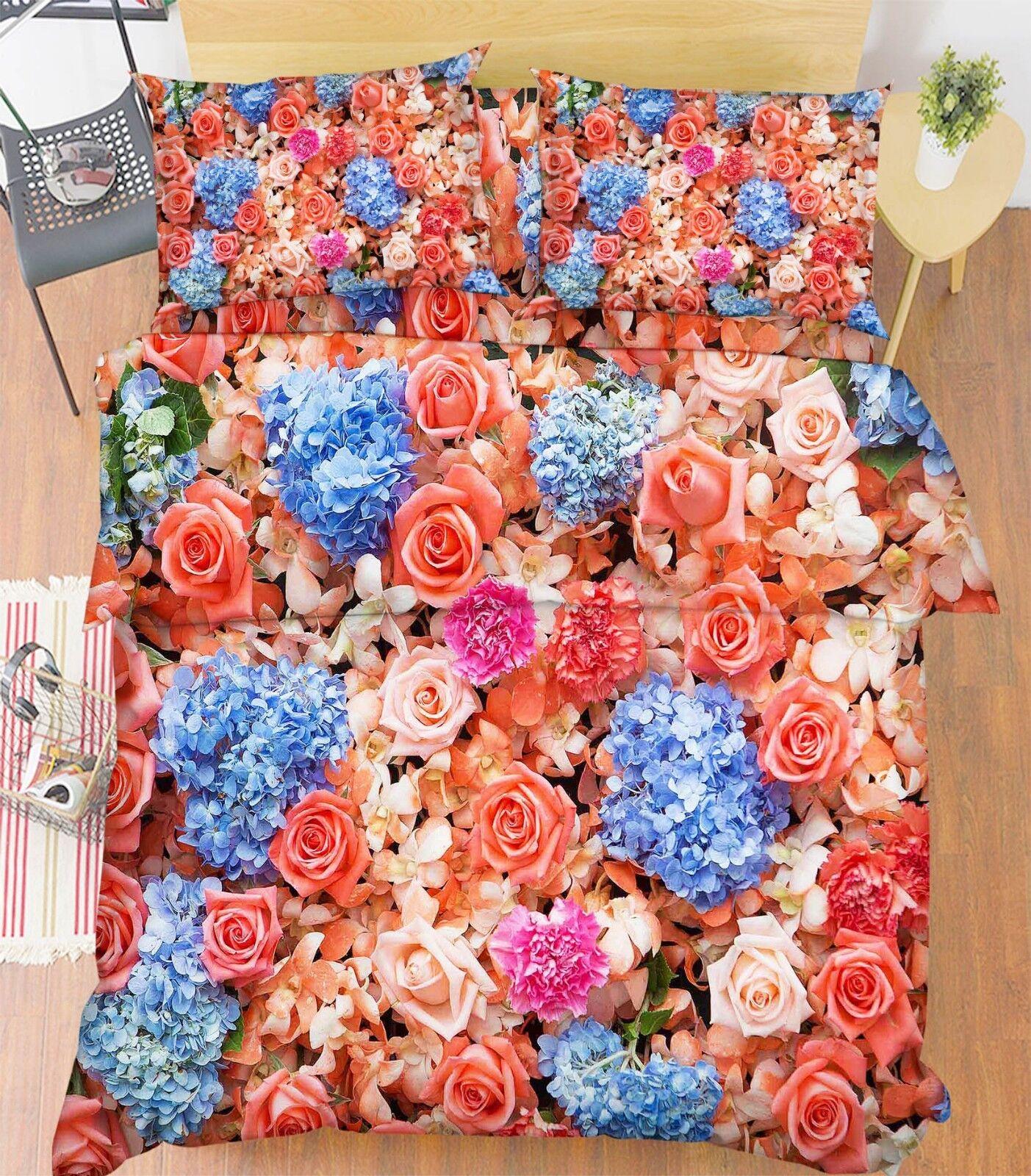 3D Natural Flowers 66 Bed Pillowcases Quilt Duvet Cover Set Single King UK Lemon