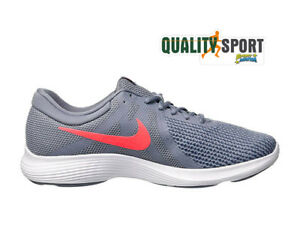 Detalles de Nike Revolution 4 Ue Gris Naranja Zapatos Hombre Running  Gimnasio AJ3490 013