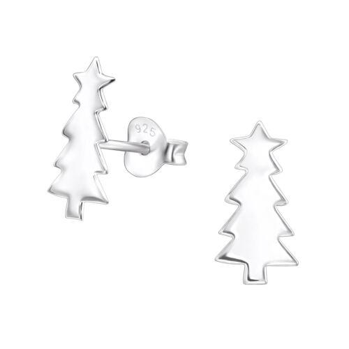 Chicas 925 Plata Esterlina Aretes Padre Santa Navidad de cristal de árbol de Navidad