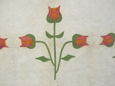 Earliest Album c 1840s Stuffed Tulips Applique Antique Quilt RED Green Cheddar