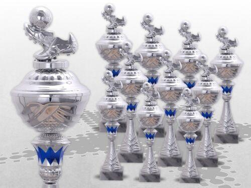10er Football trophées avec personnage Coupe Série Avec Gravure Top Prix Argent//Bleu