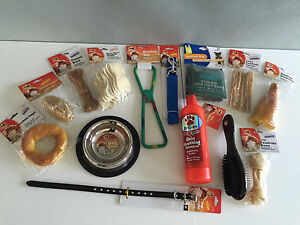 BNWT Large Puppy Starter Pack Dog Hamper Toys Rawhide Leather Collar Lead Brush