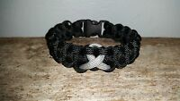 Brain Cancer / Asthma /diabetes Awareness 550 Paracord Bracelet Gray Grey Ribbon