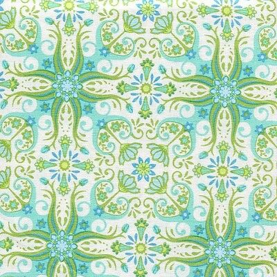 RJR Mary McGuire Cold Spring Dream 1412 01 Bloom Tiles Aqua By the yard
