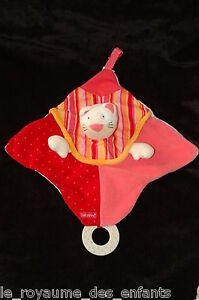 Doudou hochet Chat Babysun rouge rose anneau dentition & attache tetine