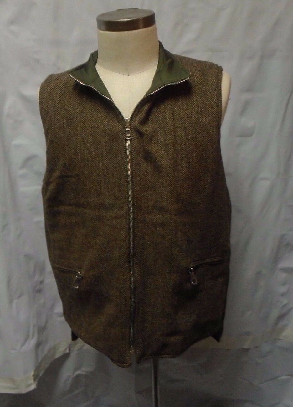 Mother Freedom Brown Tweed Reverible Nylon Quilted Zip Front Vest Men's M Medium