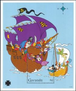 Grenada-1995-DISNEY-Pirati-Topolino-Minnie-VIGNETTE-Navi-1v-M-S-b6070g