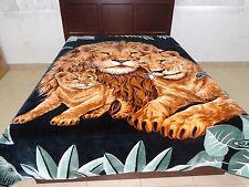 Solaron Korean Blanket throw thick Mink Plush baby Lion family green color king