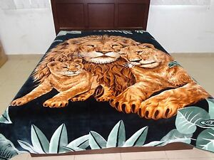 Solaron Korean Blanket throw thick Mink Plush baby Lion family green ... 30070d18d