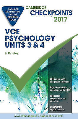 1 of 1 - Cambridge Checkpoints Vce Psychology Units 3 and 4 2017 and Quiz Me More by...
