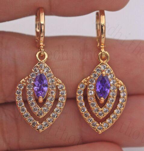 """1.4/"""" Amethyst multicouche creux Topaz Gems Boucles d/'oreilles femmes cadeau 18K Gold Filled"""