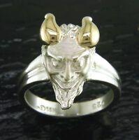Devil Face Ring, Sterling Silver & 14k Gold, Sz 7, Steven Douglas Retired Design