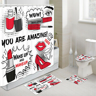 Pink High-heeled Shoes Shower Curtain Bath Mat Toilet Seat Lid Cover Rug Set