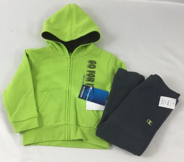 ca02b9f6496b Champion Boys 2-Piece Athletic Set Lime Green Zip Up Hoodie Gray Sweatpants  24M