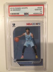 2019-20-Panini-NBA-Hoops-Ja-Morant-259-Rookie-RC-PSA-10-GEM-MINT-Grizzlies