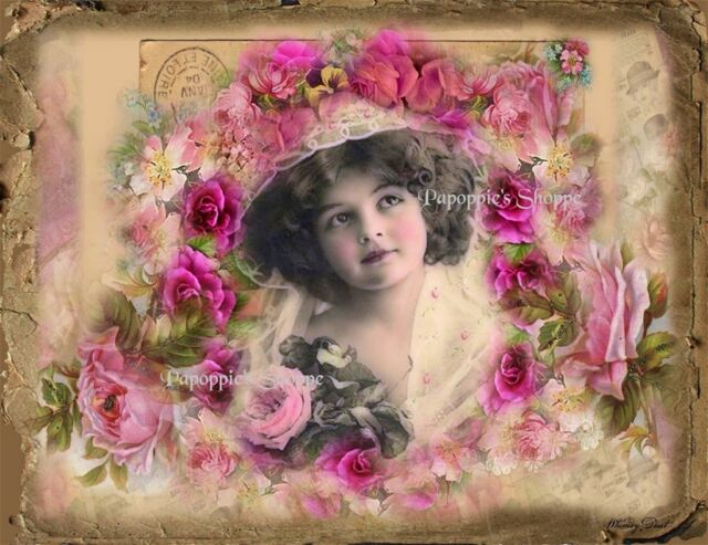 Victorian Fabric Block Chic Shabby Altered Art Pink Roses Girl with Hat