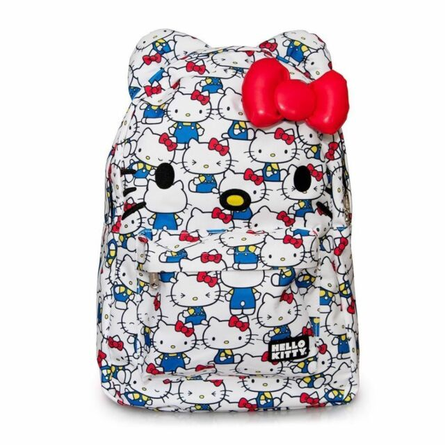 NWT Loungefly Hello Kitty Vintage Print Backpack w/Ears & Plush Red Bow