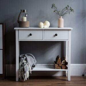 Windsor-Console-Table-2-Drawer-Shelf-Hallway-Storage-Furniture-Unit-White