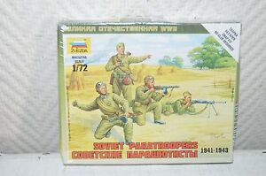Maquette-soldat-Urss-Zvezda-Model-Kit-Soviet-Paratroopers-parachutiste-1-72-Neuf
