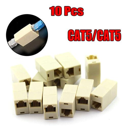 10 X CAT5 RJ45 Network Cable Extender Plug Coupler Joiner Splitter Connector