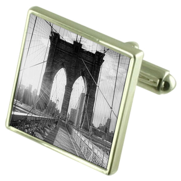 Brooklyn Bridge Bild Sterling Silber Manschettenknöpfe Optional Graviert Kiste