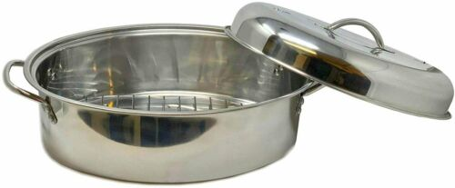 Stainless Steel Turkey Roasting Pan With Lid and Rack Multi Purpose Cookware NEW