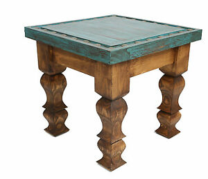 Details About Silver Trails Western End Table 18x18x17 Silver Conchos New Rustic Furniture