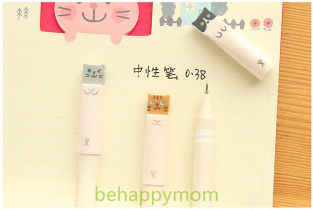 Hot 6PCS Korean Stationery Lovely Happy Cat Gel Ink Pens/Rollerball Pens-0.38mm