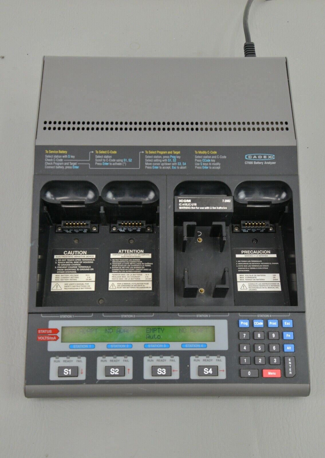 CADEX C7200-1 4 Station Battery Analyzer & Charger