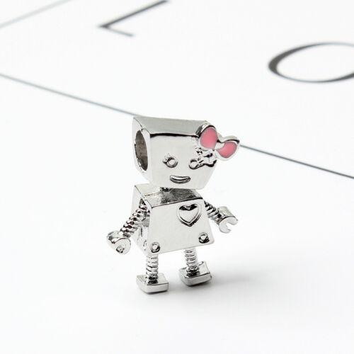1pcs Or Rose//Argent Robots Charm Bead Fit European Charm Bracelet