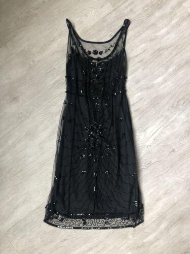 Betsey Johnson Evening Black Beaded 20s Style Dres