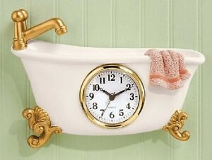 Bathroom Wall Clock Vintage Bath Tub Antique Battery Power
