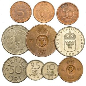 10-SWEDEN-COINS-SWEDISH-ORE-KRONA-SVERIGE-OLD-COLLECTIBLE-COINS-SET