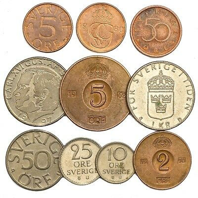 10 SWEDEN COINS SWEDISH ORE KRONA SVERIGE. OLD COLLECTIBLE ...